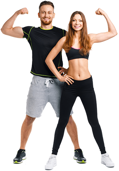 Fit Couple Flexing muscles
